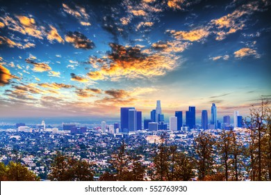 clouds over L.A. at sunset, California