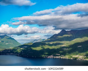 Clouds over the Lago di Como lake in the morning