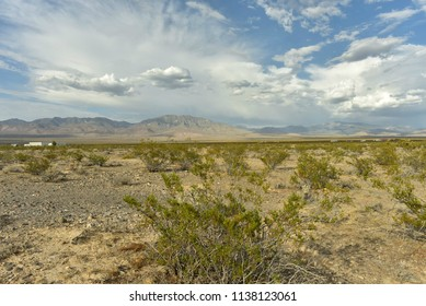 clouds over Mojave desert town of Pahrump, Nevada, USA