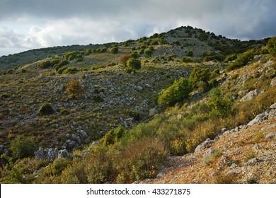Clouds over mountain in Lefkada, Ionian Islands, Greece