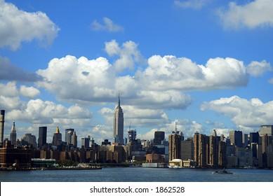 clouds over nyc skyline
