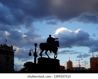 Clouds over the Republic Square. Contours Belgrade and Monument of Prince Michailo before the storm.