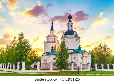 Clouds over Russian orthodox church at sunset. Russia