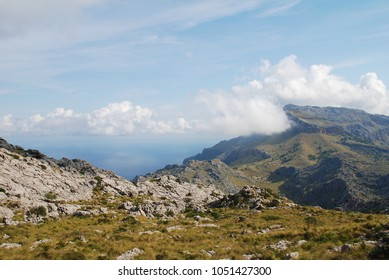 Clouds over the Serra de Tramuntana mountains above Sa Calobra on the Spanish island of Majorca.