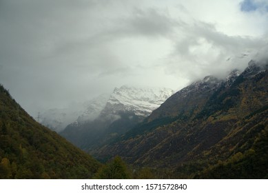 Clouds over a valley in the Austrian Alps