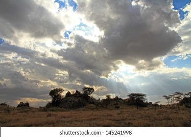 Clouds part to shine the sun's rays down upon the Serengeti plains in Tanzania