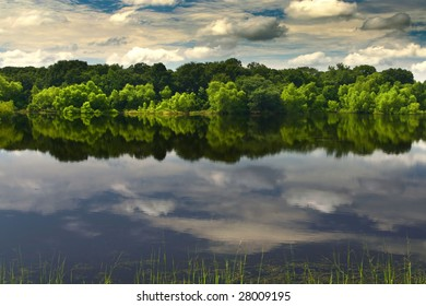 clouds' reflection in the lake