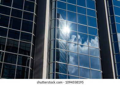 Clouds Reflections in Building glass