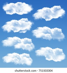 Clouds set isolated over blue sky background 3D illustration, cloud shapes collection rendering, cloudy sky set