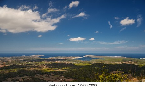 Clouds shadowing the countryside of Menorca. View from El Toro viewpoint