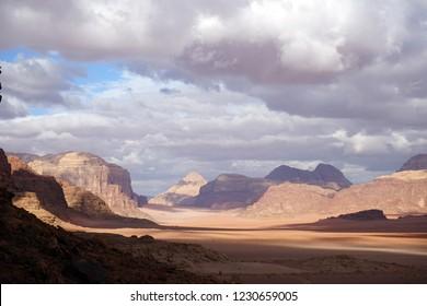 Clouds and shadows in Wadi Rum desert, Jordan