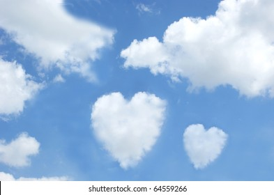 Clouds in the shape of hearts in a blue sky