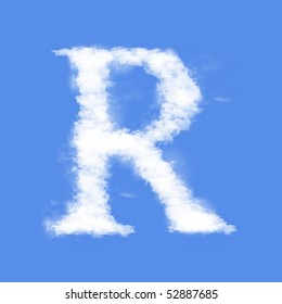 Clouds in shape of the letter R