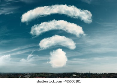 Clouds in the shape of a WiFi symbol on a sky background. Dreaming of better WiFi, or excellent signal coverage concept.  3d rendering
