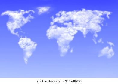 Clouds in the shape of a world map against blue sky