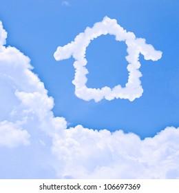 Clouds shaped house on the blue sky