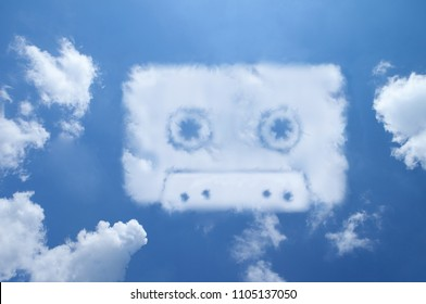 Clouds shaped like a tape cassette.
