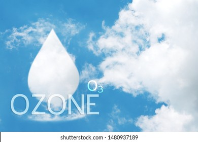 Clouds shaped like water drops of ozone on blue sky background.