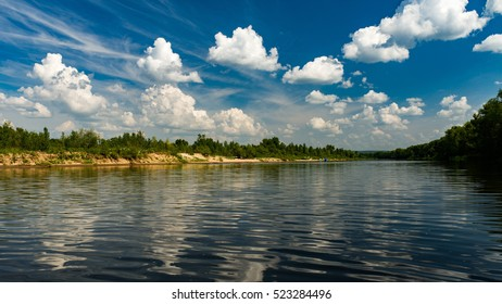 Clouds in the sky above Volga river, Russia