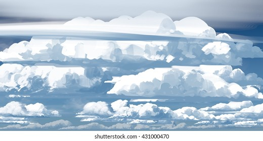 Clouds, sky paintings, daylight. Digital illustrations with wide brush.