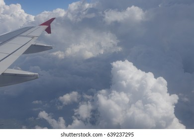Clouds Sky with Plane Wing