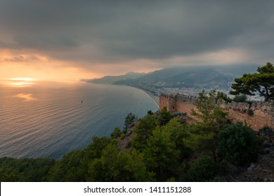clouds sky with sunset light and alanya city and castle view of the alanya
