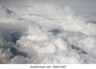 Clouds in the sky. View from the plane.
