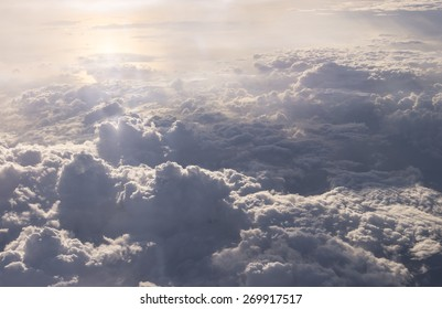 clouds sky . view from the window of an airplane