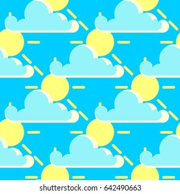 clouds and the sun good weather seamless pattern. Background sunny weather illustration