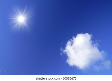 Clouds and sun on the blue sky