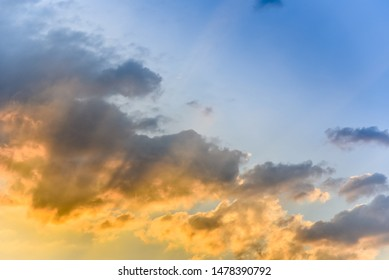 Clouds with sunset light effect at sky