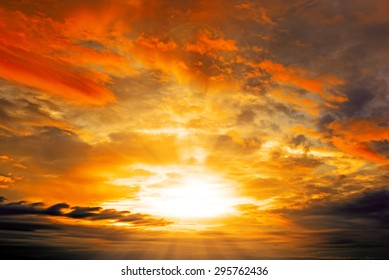 Clouds and Sunset with sun rays