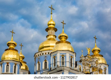 Clouds surround St Michaels in Kiev classic golden cupolas of th