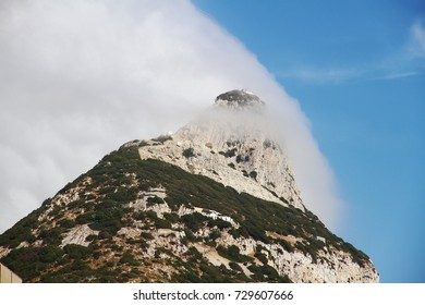 Clouds in the top of the Rock of Gibraltar