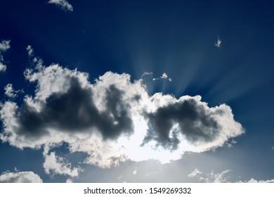 Clouds under the sun, light go through the gaps