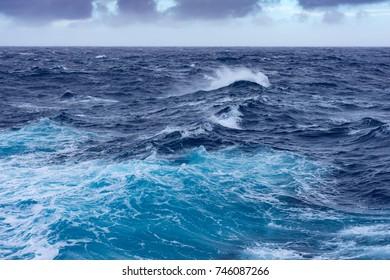 Clouds, waves and ship trace in north Pacific