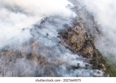 Clouds of white smoke from a fire, resembling mist or fog, on a rocky mountain peak. Trees burning in wildfire on a steep cliff of a hill. Global warming and climate change impact on environment. - Shutterstock ID 2027669075