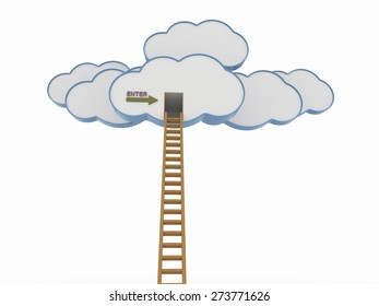 Clouds with Wooden Ladder, Competition and Cloud Computing Concept