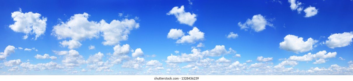 Cloudscape - Blue clear sky and white fluffy clouds, panorama
