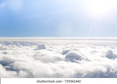 Cloudscape. Blue sky and white cloud. Sunny day. Cumulus cloud.