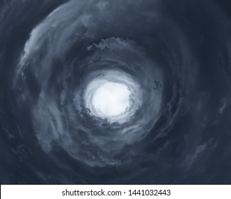 Cloudscape with eye of hurricane