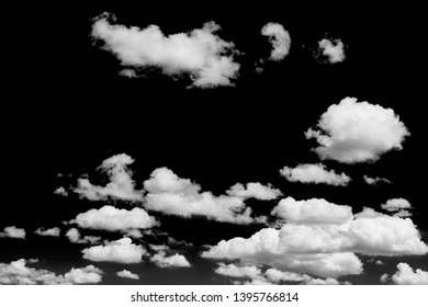 Cloudscape isolated on black sky, Black and white cloudscape image
