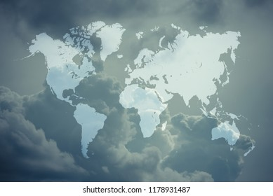 Cloudscape of natural sky with blue sky and white clouds in the sky use for wallpaper background with world map