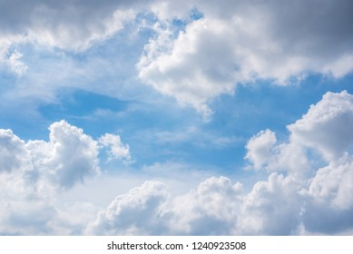 Cloudscape of natural sky with blue sky and white clouds in the sky use for wallpaper background
