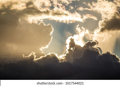 Cloudscape of thunderclouds in the summer sky on a hot and humid day