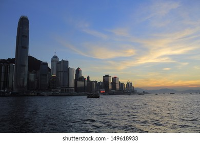 the cloudscape of victoria harbour view in sunset in hong kong
