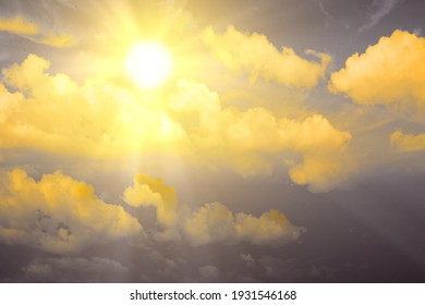 Cloudscapes with sunlight in the blue sky background