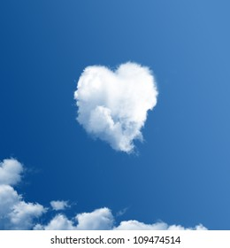Cloud-shaped heart on a blue sky