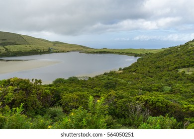 Cloudy azoren landscape with lake, Pico Island, Azores
