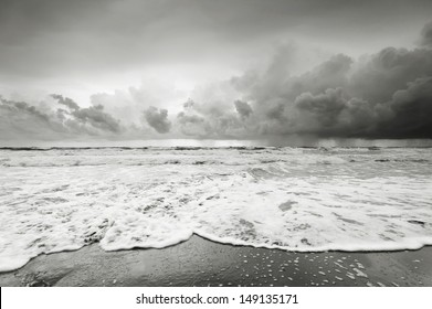 Cloudy beach before raining in black and white